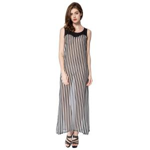 Stylish Scoop Neck Sleeveless Striped Voile Splicing Long Dress For Women - As The Picture - Xl