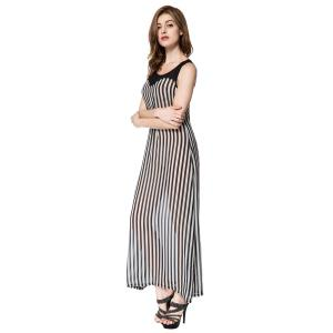 Stylish Scoop Neck Sleeveless Striped Voile Splicing Long Dress For Women - AS THE PICTURE XL