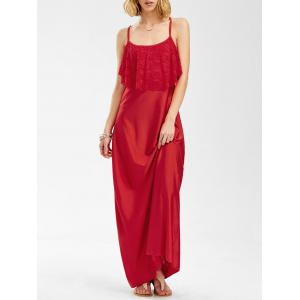 Long Slip Lace Trim Backless Floor Length Dress - Red - S