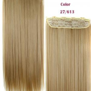 Trendy 23 Inch Long Straight Clip-In Heat Resistant Synthetic Hair Extension For Women - 27 And 613#