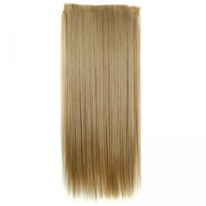 Trendy 23 Inch Long Straight Clip-In Heat Resistant Synthetic Hair Extension For Women - /