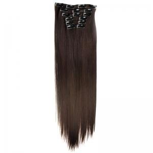 Long Straight Clip-In Heat Resistant Synthetic Hair Extension Suit For Women - 2/33#