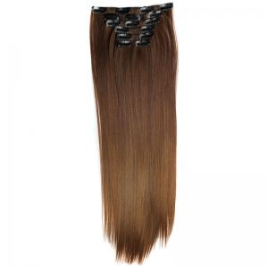 Long Straight Clip-In Heat Resistant Synthetic Hair Extension Suit For Women - 4/30#
