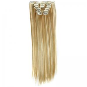 Long Straight Clip-In Heat Resistant Synthetic Hair Extension Suit For Women - 27H613