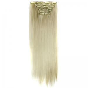 Long Straight Clip-In Heat Resistant Synthetic Hair Extension Suit For Women - BLONDE