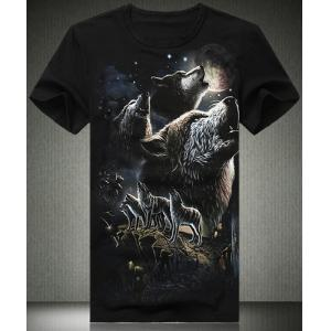 Summer Necessary Fitted Round Neck Evil Wolf Valley 3D Print Plus Size Short Sleeves Men's T-Shirt