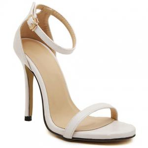 Sexy Stiletto Heel and Solid Color Design Simple Women's Sandals - White - 39