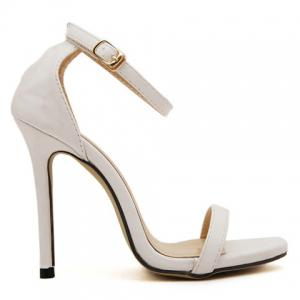 Sexy Stiletto Heel and Solid Color Design Simple Women's Sandals - WHITE 39