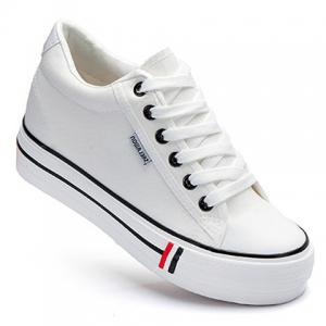 Preppy Style Lace-Up and Round Toe Design Women's Canvas Shoes