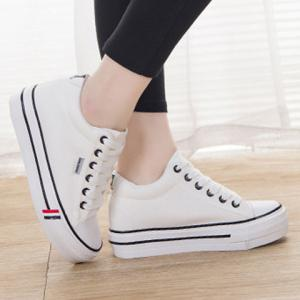 Preppy Style Lace-Up and Round Toe Design Women's Canvas Shoes -