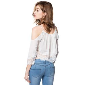 Sexy Scoop Neck Long Sleeve Off-The-Shoulder Women's Blouse -
