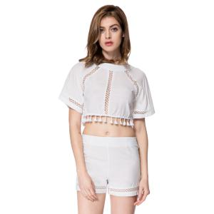 Stylish Round Neck Half Sleeve Backless Blouse + High-Waisted Shorts Women's Twinset
