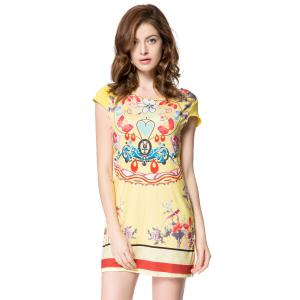Stylish Scoop Collar Short Sleeve Floral Print Women's Dress - Yellow - S