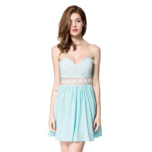 Strapless Formal Sweetheart Wedding Party Short Formal Dress - Light Blue - L