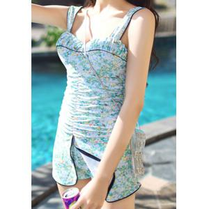Trendy Style Sweetheart Neck Tiny Floral Print One-Piece Swimsuit For Women -