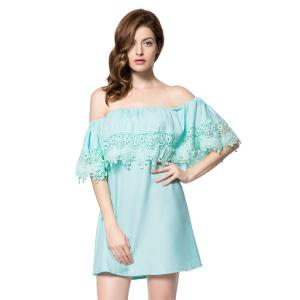 Stylish Bateau Neck Off The Shoulder Lace Splicing Short Sleeve Dress For Women - Green - Xl