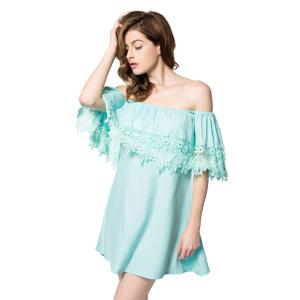 Stylish Bateau Neck Off The Shoulder Lace Splicing Short Sleeve Dress For Women - GREEN M