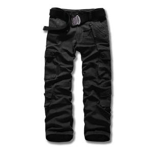 Loose Fit Straight Leg Multi-Pocket Suture Design Zipper Fly Plus Size Men's Cargo Pants - Black - 38