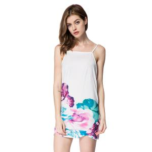 Spaghetti Strap Backless Floral Print Summer Dress - White - M