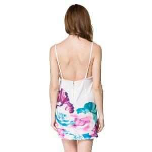 Spaghetti Strap Backless Floral Print Summer Dress - WHITE S