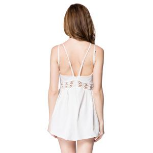 Sexy Spaghetti Strap Backless Hollow Out Solid Color Women's Romper - WHITE S