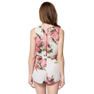 Stylish Scoop Collar Sleeveless Floral Print Hollow Out Women's Romper -