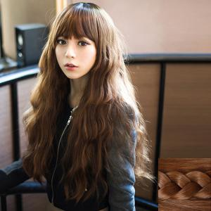 Fashion Fluffy Full Bang Ladylike Long Loose Wave Synthetic Capless Wig For Women - Light Brown