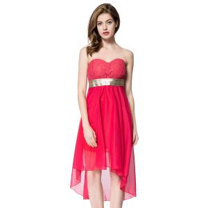 Strapless High Low Cocktail Night Out Chiffon Dress