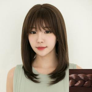 Stylish Full Bang Ladylike Long Natural Straight Synthetic Capless Wig For Women - Deep Brown - 14inch