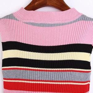 Brief Round Collar Colorful Striped Sleeveless Knitted Dress For Women -