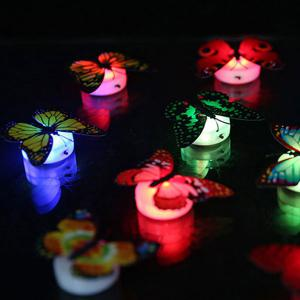 1pcs Colorful Luminous Butterfly Nightlight Stickers Small Night Lamp Indoor Wall Lighting -