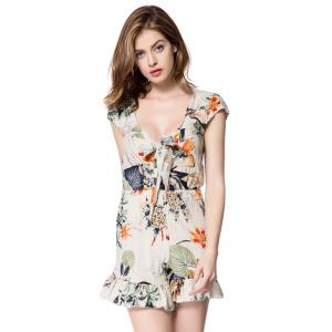 Plunging Neckline Flounced Floral Romper - Off-white - S
