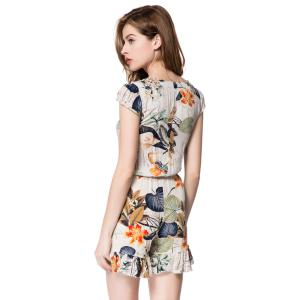 Plunging Neckline Flounced Floral Romper - OFF-WHITE S