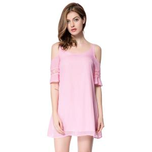 Casual Spaghetti Strap 3/4 Sleeve Backless Solid Color Women's Dress - Pink - L