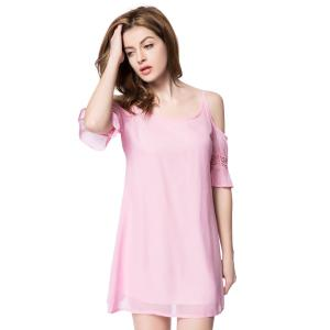 Casual Spaghetti Strap 3/4 Sleeve Backless Solid Color Women's Dress -