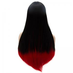 Vogue Black to Red Ombre Lolita Long Straight Side Bang Synthetic Capless Cosplay Women's Wig - RED/BLACK