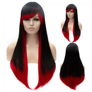 Vogue Black to Red Ombre Lolita Long Straight Side Bang Synthetic Capless Cosplay Women's Wig