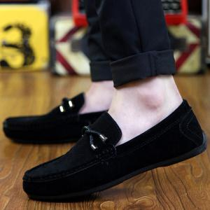 Concise Style Suede and Flat Design Men's Loafers - BLACK 44