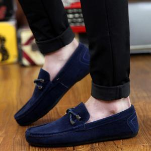 Concise Style Suede and Flat Design Men's Loafers -