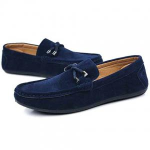 Concise Style Suede and Flat Design Men's Loafers - BLUE 43