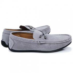 Concise Style Suede and Flat Design Men's Loafers - GRAY 42