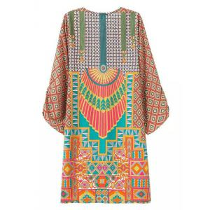 Baroco Style V-Neck Full Print Lace-Up 3/4 Sleeve Dress For Women -