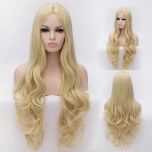 70CM Multi-Layered Blonde Long Wavy Centre Parting Charming Lolita Style Women's Synthetic Party Wig