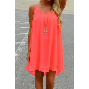 Spaghetti Strap Chiffon Mini Shift Dress