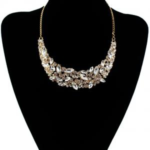 Delicate Faux Crystal Decorated Moon Shape Necklace For Women
