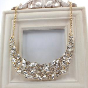 Delicate Faux Crystal Decorated Moon Shape Necklace For Women - GOLDEN