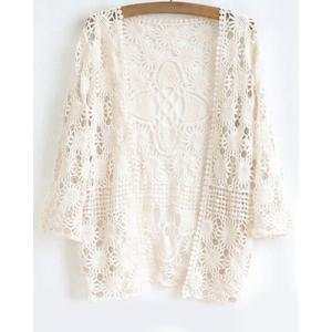 Stylish Collarless 3/4 Sleeve Solid Color Cu Out Crochet Women's Cardigan