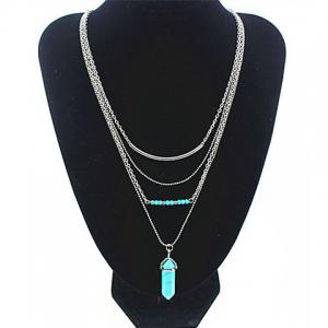 Vintage Faux Turquoise Layered Pendant Necklace -