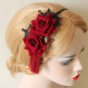 Classic Lace Flower Leaf Hairband For Women - DEEP RED