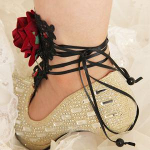 Delicate Lace Rhinestone Flower Anklet -